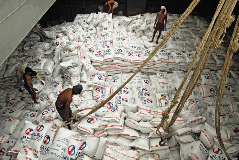 Loading Bagged Rice in Thailand